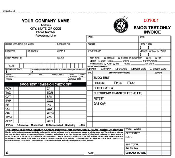 California Smog Test Only Invoice
