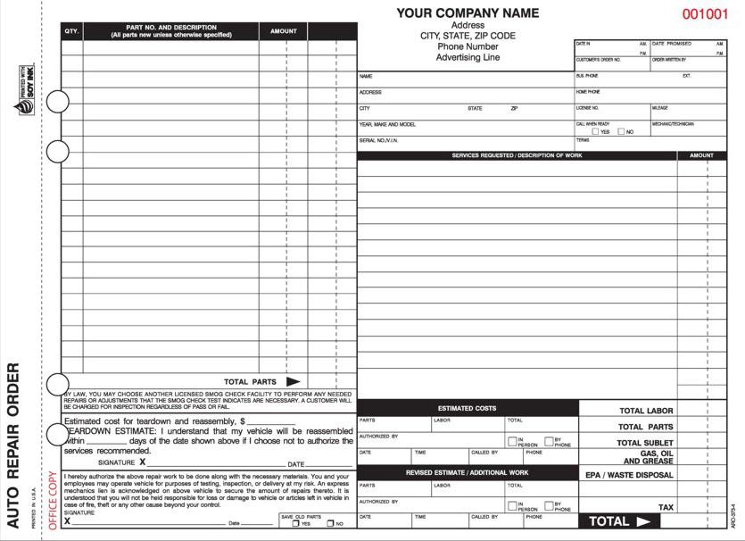 auto repair forms