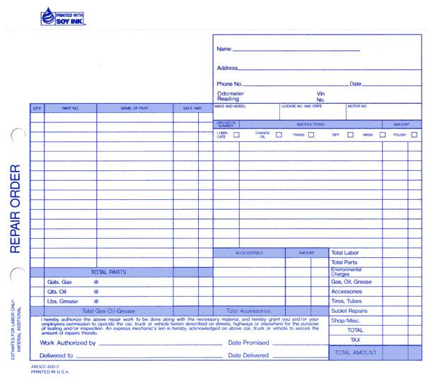 auto repair orders