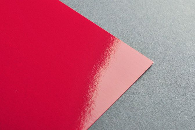 Red Glaskote Business Card Stock