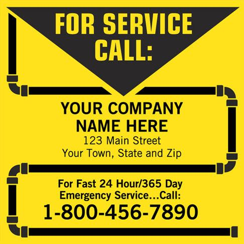 Plumbing For Service Call Label