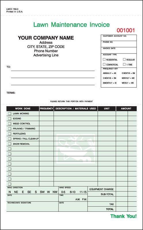 Lawn Maintenance Invoice