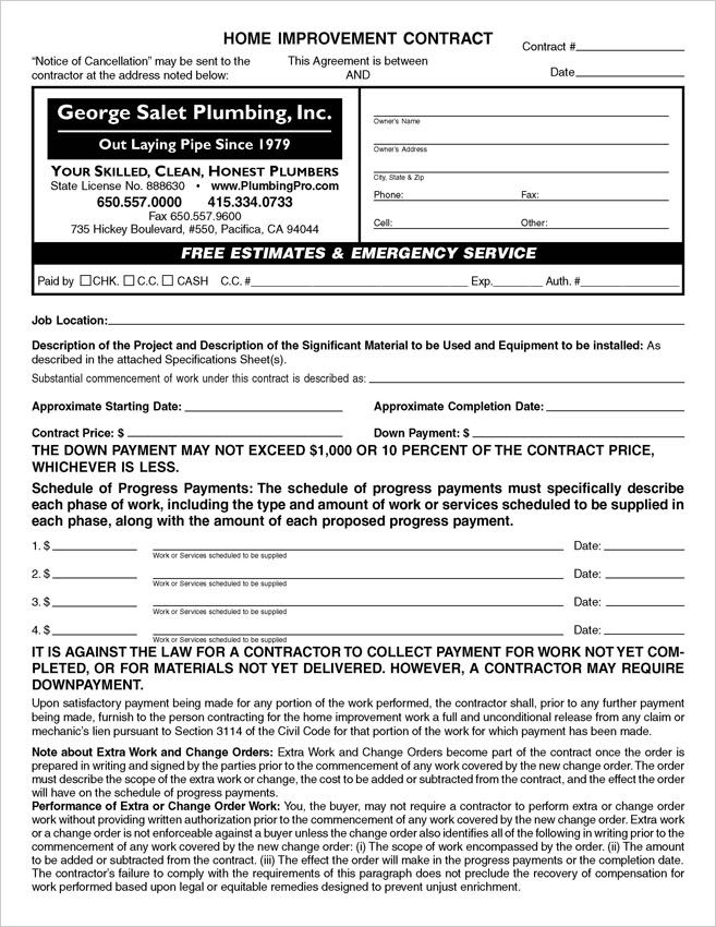 Word & PDF Home Improvement Contract Forms