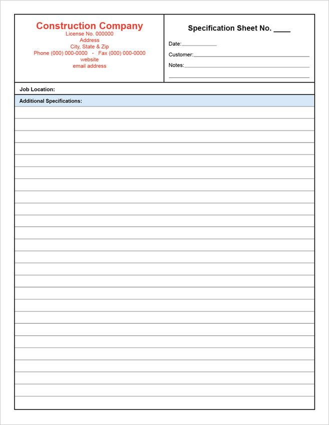 Customizable Specification Sheet